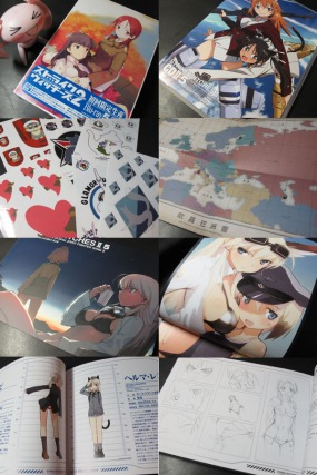 Photos of the booklet that came with the new Strike Witches volume. From Earl Box