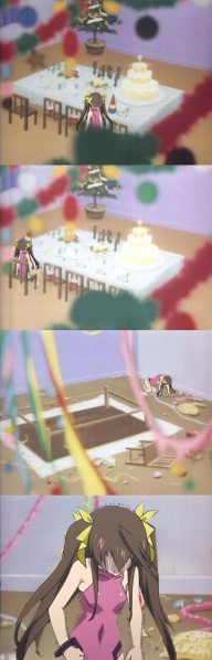 haha poor Rin ;_;. There's actually a little more to this than the general sense of pity many IS viewers have towards Rin - it's a shop of a set of screencaps that have become semi-memes lately portraying a guy having a breakdown after a solo birthday party (often called one of the saddest pictures ever haha!).
